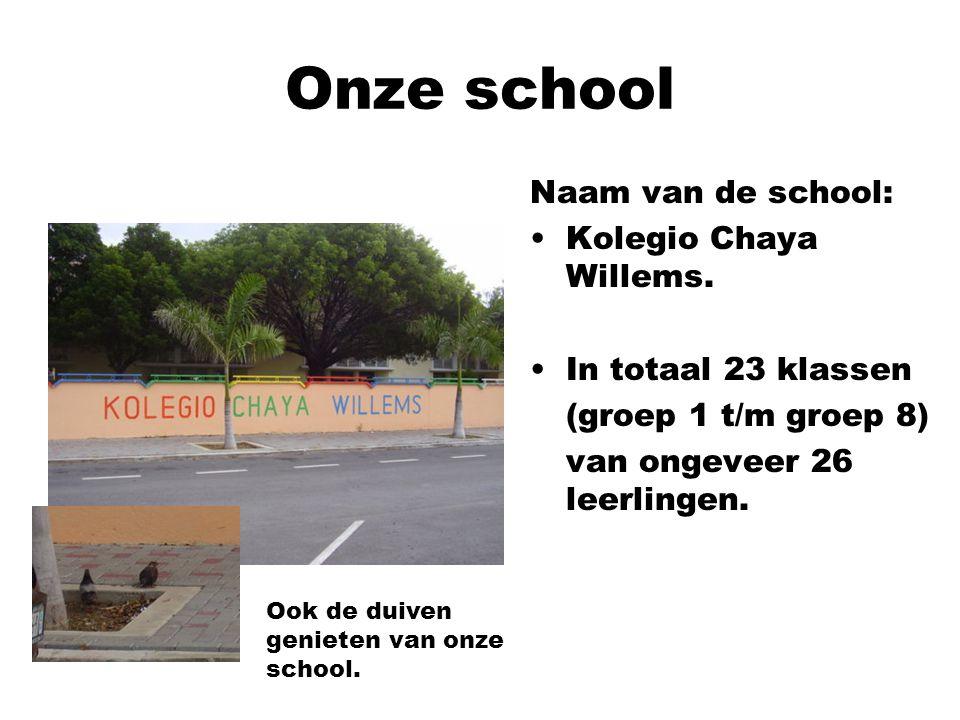 Onze school Naam van de school: Kolegio Chaya Willems. In totaal 23 klassen (groep 1 t/m groep 8) van ongeveer 26 leerlingen. Ook de duiven genieten v