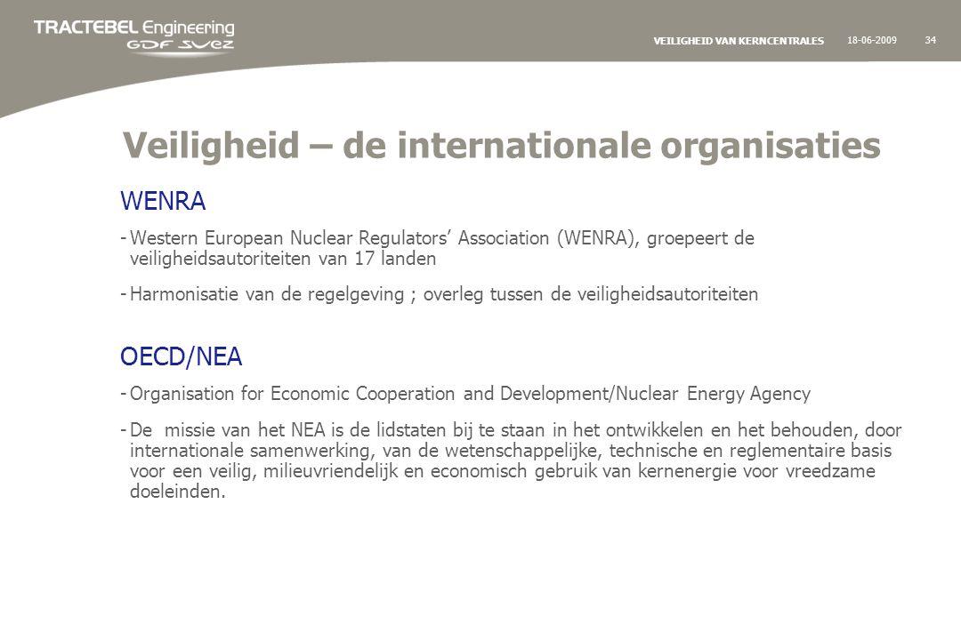 18-06-200934 VEILIGHEID VAN KERNCENTRALES Veiligheid – de internationale organisaties WENRA -Western European Nuclear Regulators' Association (WENRA), groepeert de veiligheidsautoriteiten van 17 landen -Harmonisatie van de regelgeving ; overleg tussen de veiligheidsautoriteiten OECD/NEA -Organisation for Economic Cooperation and Development/Nuclear Energy Agency -De missie van het NEA is de lidstaten bij te staan in het ontwikkelen en het behouden, door internationale samenwerking, van de wetenschappelijke, technische en reglementaire basis voor een veilig, milieuvriendelijk en economisch gebruik van kernenergie voor vreedzame doeleinden.