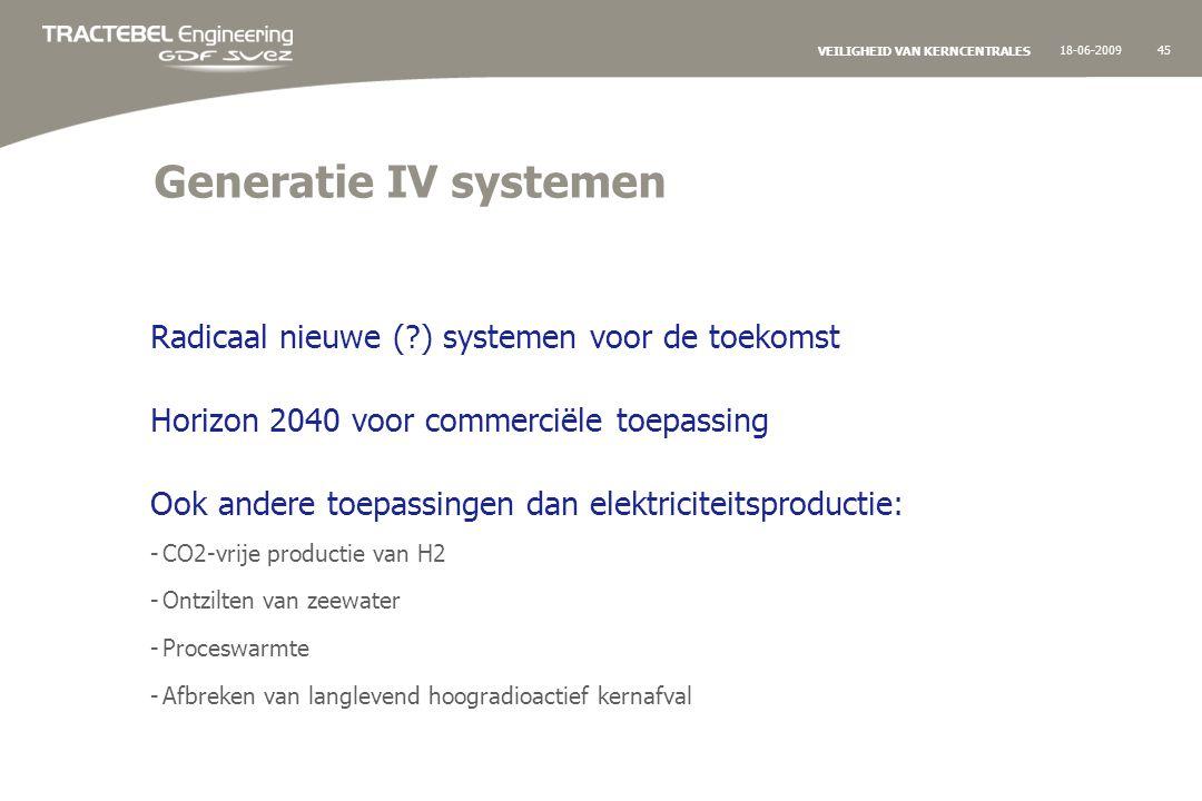 18-06-200945 VEILIGHEID VAN KERNCENTRALES Generatie IV systemen Radicaal nieuwe ( ) systemen voor de toekomst Horizon 2040 voor commerciële toepassing Ook andere toepassingen dan elektriciteitsproductie: -CO2-vrije productie van H2 -Ontzilten van zeewater -Proceswarmte -Afbreken van langlevend hoogradioactief kernafval