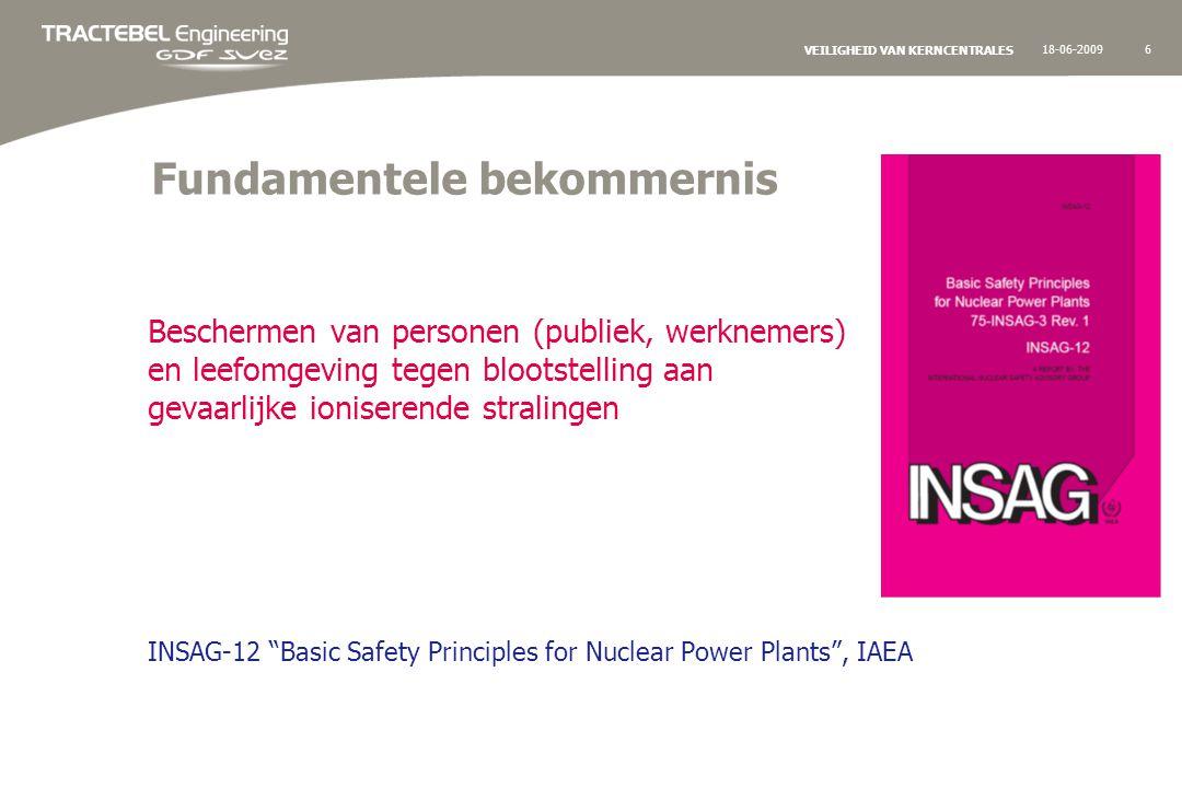18-06-200917 VEILIGHEID VAN KERNCENTRALES Regelgeving – toezicht – actoren In België wordt de Amerikaanse regelgeving toegepast… maar met specifiek Belgische aanpassingen waar nodig Controle op de toepassing van de regelgeving en meer algemeen op de nucleaire veilgiheid is de bevoegdheid van het FANC (Federaal Agentschap voor Nucleaire Controle) -Verificatie van de correcte toepassing in het ontwerp (Veiligheidsrapport) -Permanent toezicht tijdens uitbating Voor technische ondersteuning en controle van Klasse I nucleaire installaties doet het FANC beroep op de technische expertise van BelV Verantwoordelijke voor de nucleaire veiligheid is de uitbater, Electrabel, die daarbij een beroep doet op de technische expertise van zijn studiebureau Tractebel.