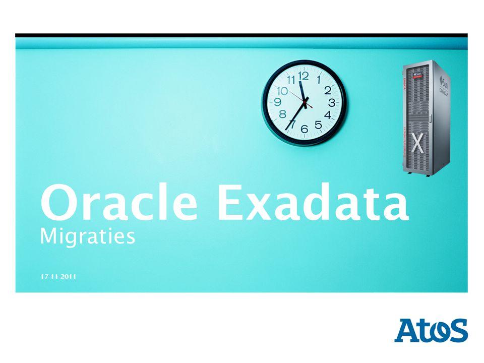17-11-2011 V-b Denk na over : exadata storage HHhHHh Belangrijke zaken vooraf: Redundancy : NORMAL of HIGH 50% of 66% overhead Backup : Intern (binnen Exadata) of Extern FRA: => 40/60 versus 80/20 EHCC compressie => kan veel opleveren afhankelijk type data Type disken : SAS High Performance (600 GB) of SATA High Capacity (3 TB)