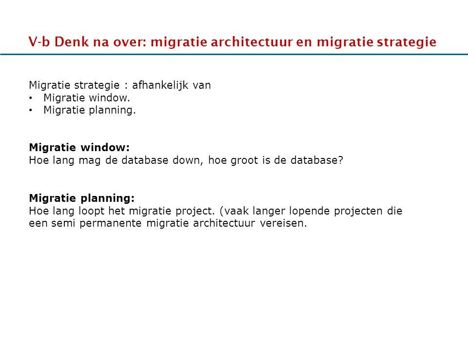 17-11-2011 V-b Denk na over: migratie architectuur en migratie strategie HHhHHh Migratie strategie : afhankelijk van Migratie window.