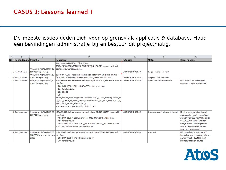 17-11-2011 CASUS 3: Lessons learned 1 OverviewThe SituationBenefitsExperience De meeste issues deden zich voor op grensvlak applicatie & database. Hou