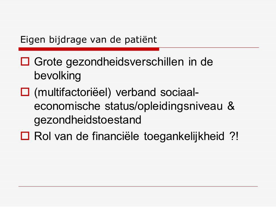 Eigen bijdrage van de patiënt  Grote gezondheidsverschillen in de bevolking  (multifactoriëel) verband sociaal- economische status/opleidingsniveau & gezondheidstoestand  Rol van de financiële toegankelijkheid ?!