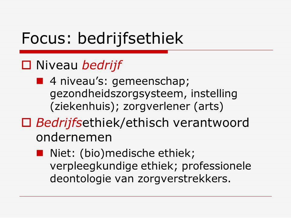 Focus: bedrijfsethiek  Niveau bedrijf 4 niveau's: gemeenschap; gezondheidszorgsysteem, instelling (ziekenhuis); zorgverlener (arts)  Bedrijfsethiek/ethisch verantwoord ondernemen Niet: (bio)medische ethiek; verpleegkundige ethiek; professionele deontologie van zorgverstrekkers.