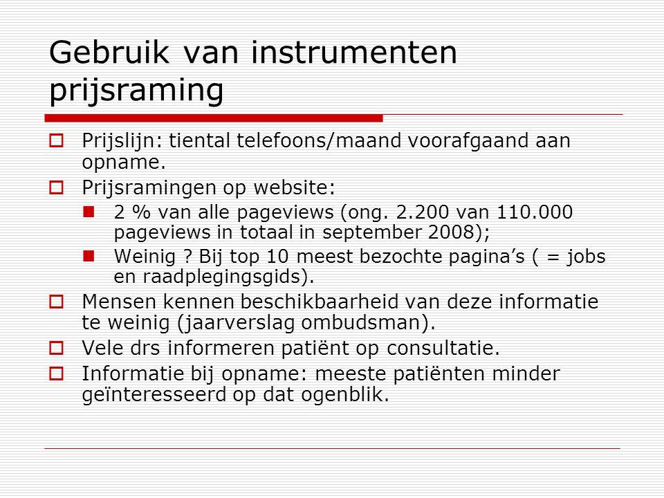 Gebruik van instrumenten prijsraming  Prijslijn: tiental telefoons/maand voorafgaand aan opname.  Prijsramingen op website: 2 % van alle pageviews (