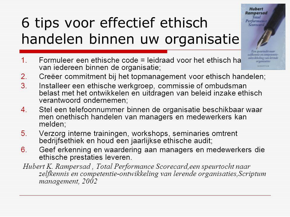 6 tips voor effectief ethisch handelen binnen uw organisatie 1.Formuleer een ethische code = leidraad voor het ethisch handelen van iedereen binnen de organisatie; 2.Creëer commitment bij het topmanagement voor ethisch handelen; 3.Installeer een ethische werkgroep, commissie of ombudsman belast met het ontwikkelen en uitdragen van beleid inzake ethisch verantwoord ondernemen; 4.Stel een telefoonnummer binnen de organisatie beschikbaar waar men onethisch handelen van managers en medewerkers kan melden; 5.Verzorg interne trainingen, workshops, seminaries omtrent bedrijfsethiek en houd een jaarlijkse ethische audit; 6.Geef erkenning en waardering aan managers en medewerkers die ethische prestaties leveren.