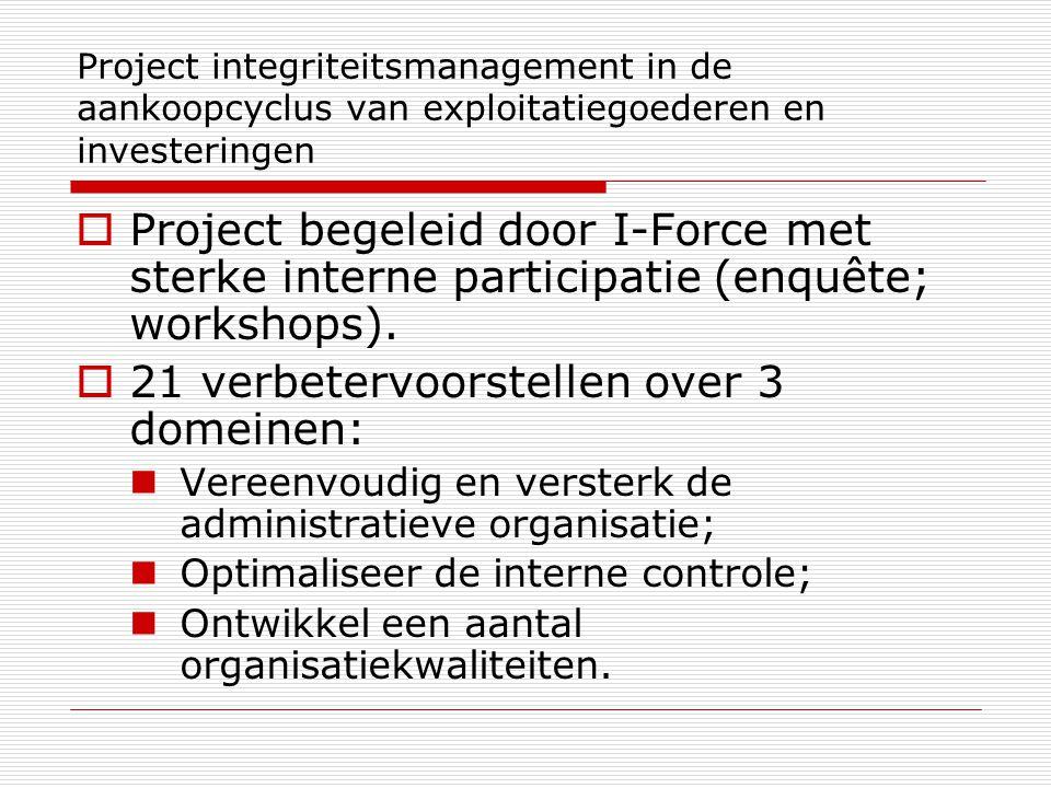 Project integriteitsmanagement in de aankoopcyclus van exploitatiegoederen en investeringen  Project begeleid door I-Force met sterke interne participatie (enquête; workshops).