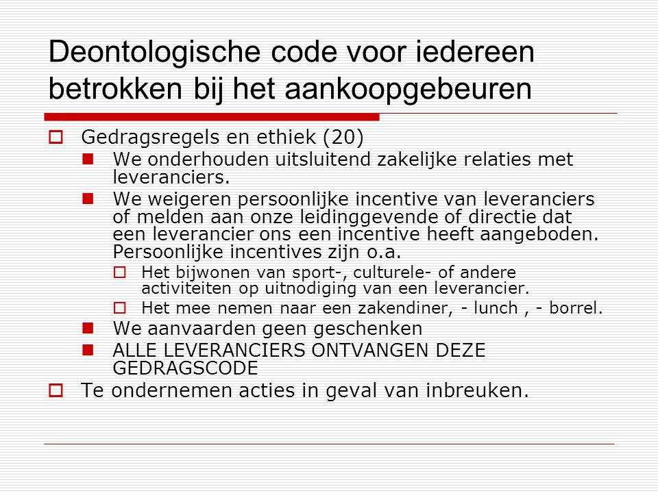 Deontologische code voor iedereen betrokken bij het aankoopgebeuren  Gedragsregels en ethiek (20) We onderhouden uitsluitend zakelijke relaties met leveranciers.