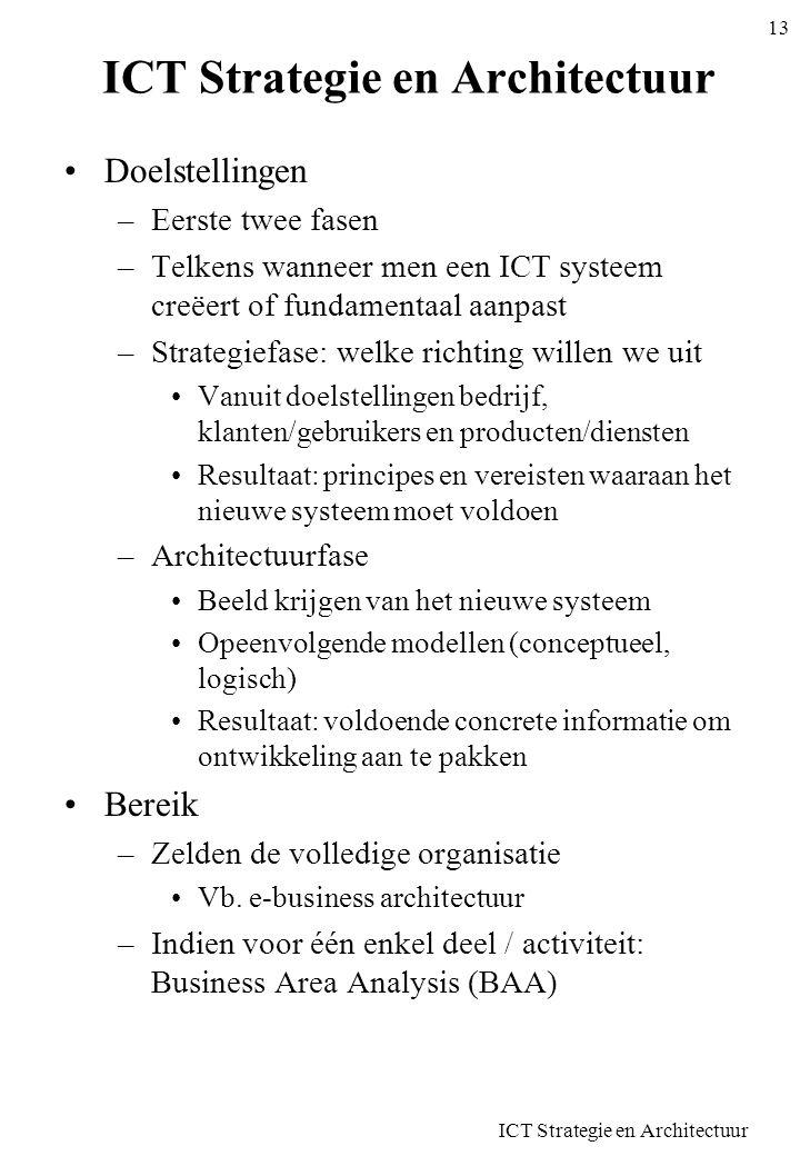 ICT Strategie en Architectuur 13 ICT Strategie en Architectuur Doelstellingen –Eerste twee fasen –Telkens wanneer men een ICT systeem creëert of funda