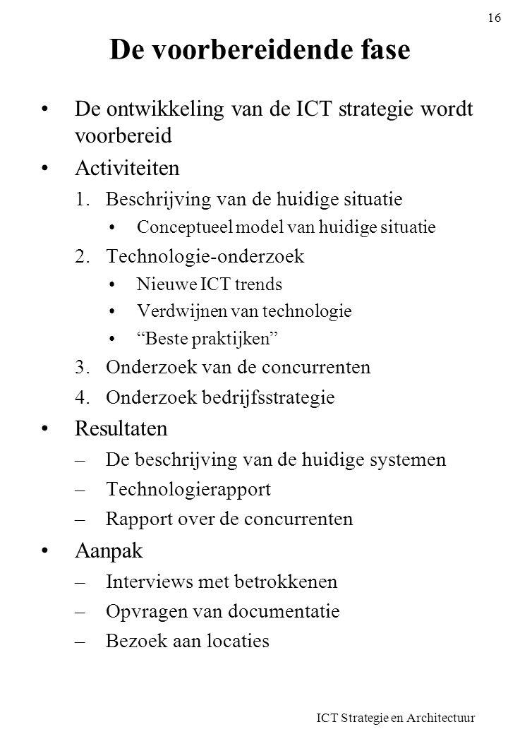 ICT Strategie en Architectuur 16 De voorbereidende fase De ontwikkeling van de ICT strategie wordt voorbereid Activiteiten 1.Beschrijving van de huidi