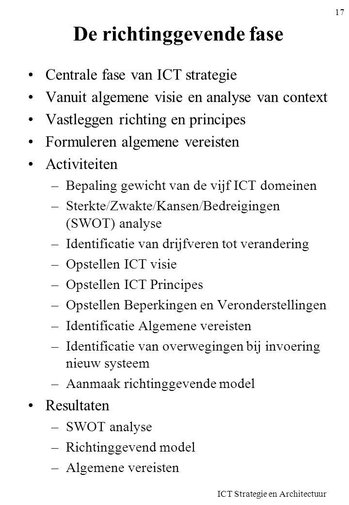 ICT Strategie en Architectuur 17 De richtinggevende fase Centrale fase van ICT strategie Vanuit algemene visie en analyse van context Vastleggen richt