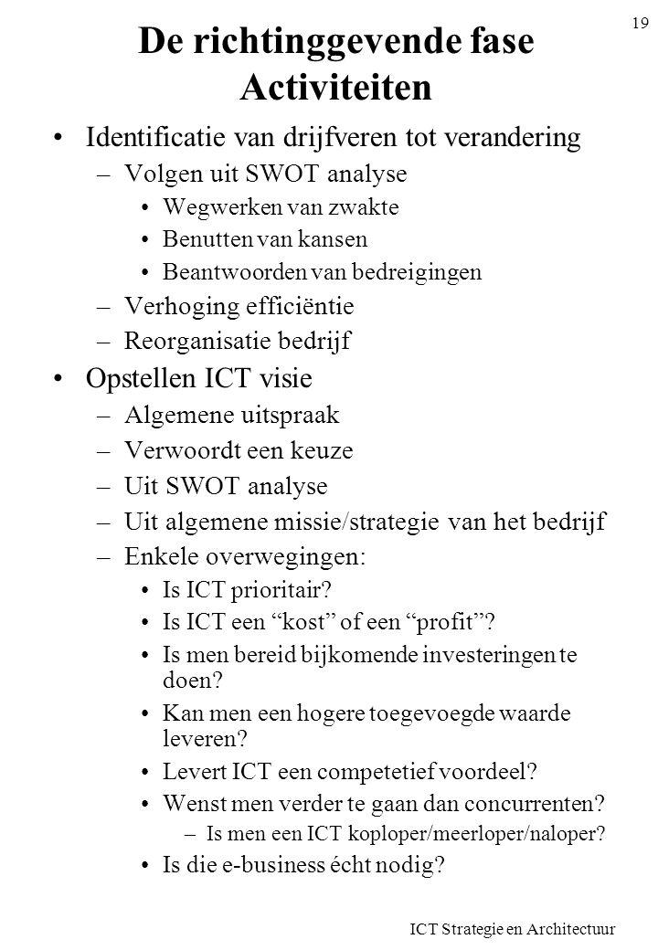 ICT Strategie en Architectuur 19 De richtinggevende fase Activiteiten Identificatie van drijfveren tot verandering –Volgen uit SWOT analyse Wegwerken