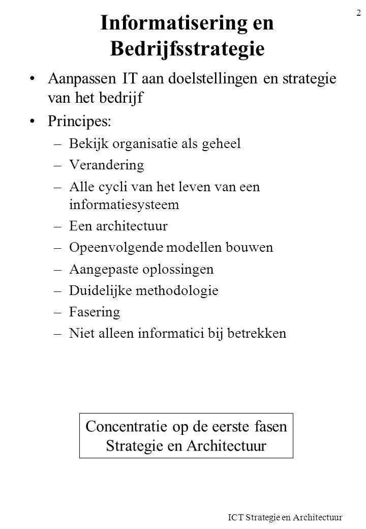 ICT Strategie en Architectuur 2 Informatisering en Bedrijfsstrategie Aanpassen IT aan doelstellingen en strategie van het bedrijf Principes: –Bekijk o