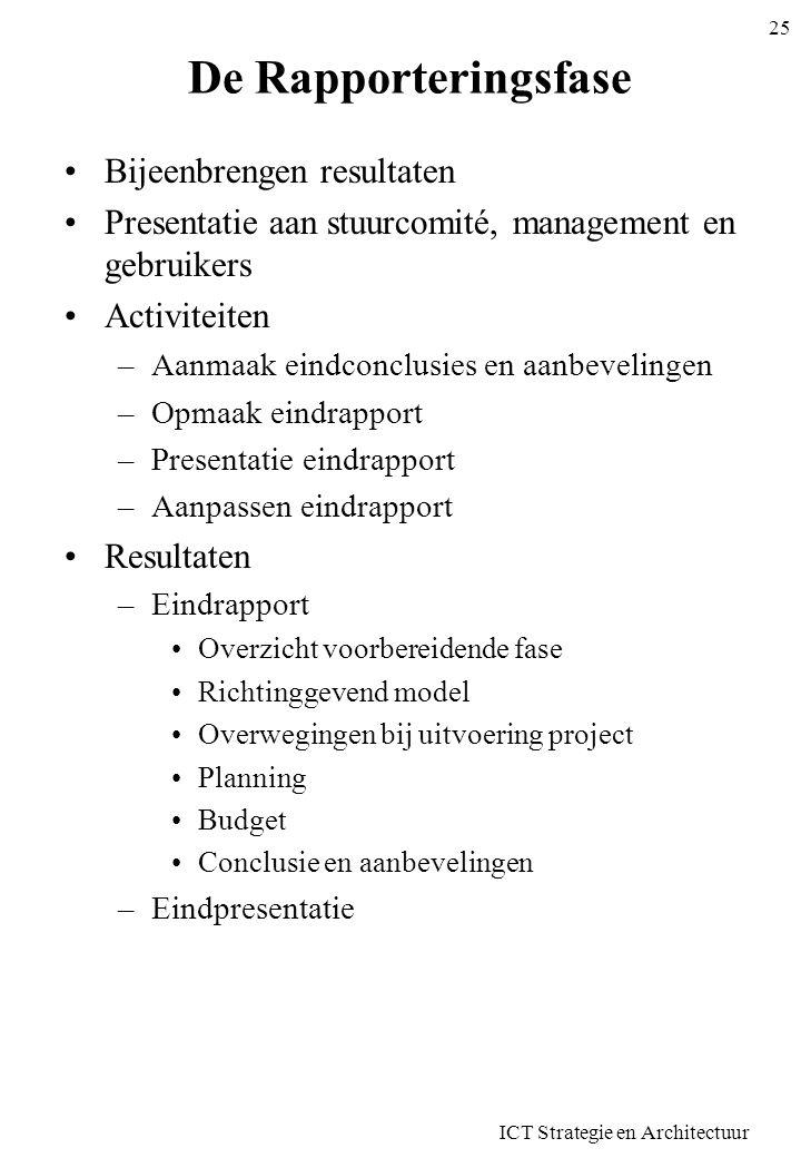 ICT Strategie en Architectuur 25 De Rapporteringsfase Bijeenbrengen resultaten Presentatie aan stuurcomité, management en gebruikers Activiteiten –Aan