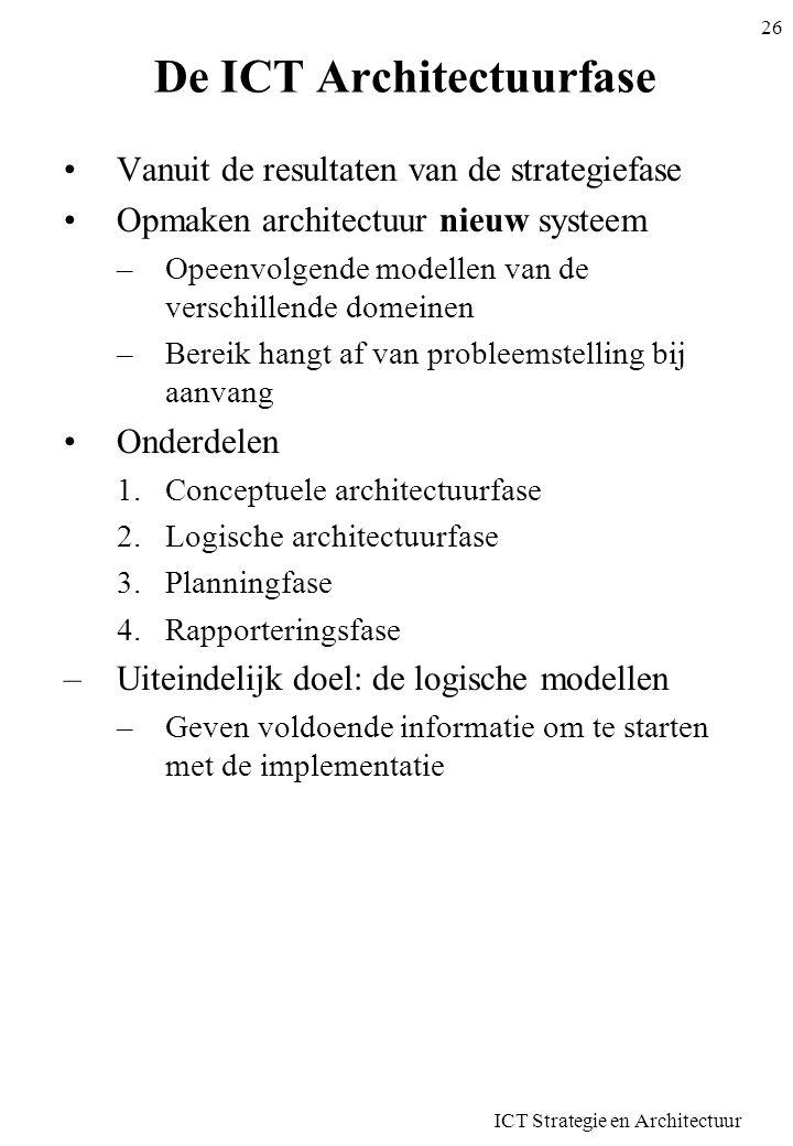 ICT Strategie en Architectuur 26 De ICT Architectuurfase Vanuit de resultaten van de strategiefase Opmaken architectuur nieuw systeem –Opeenvolgende m