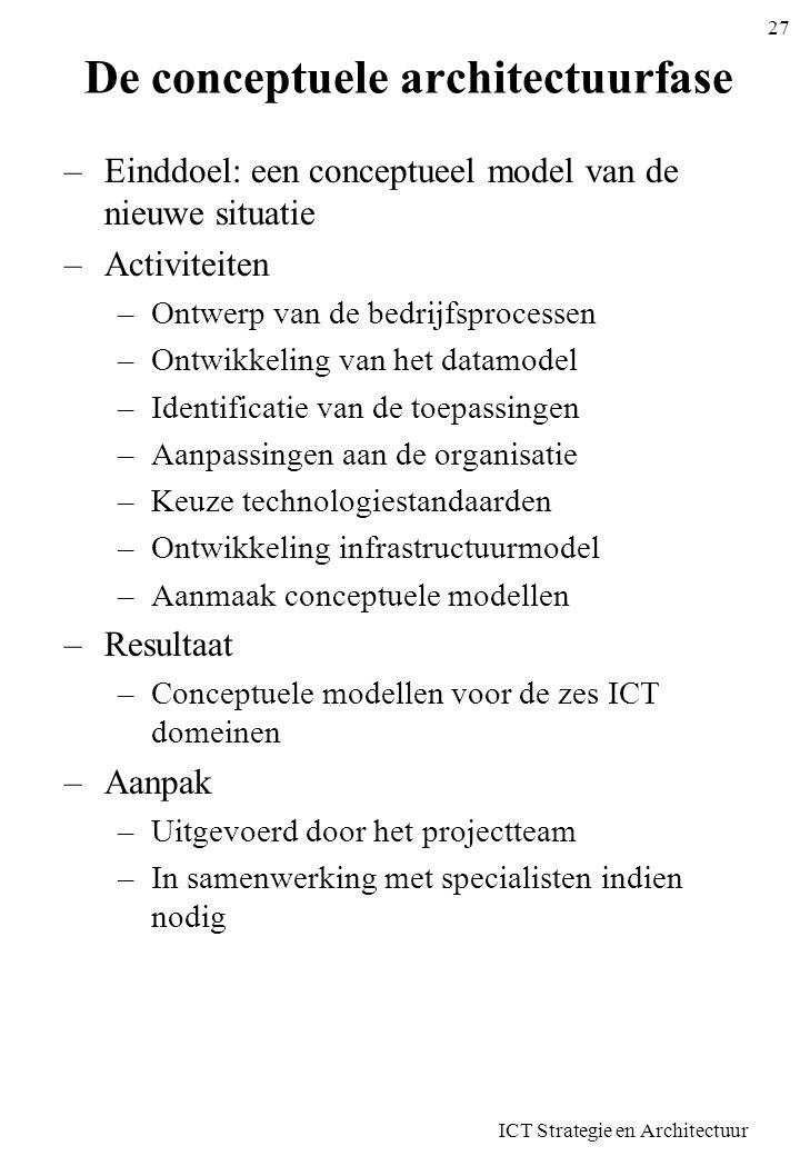 ICT Strategie en Architectuur 27 De conceptuele architectuurfase –Einddoel: een conceptueel model van de nieuwe situatie –Activiteiten –Ontwerp van de