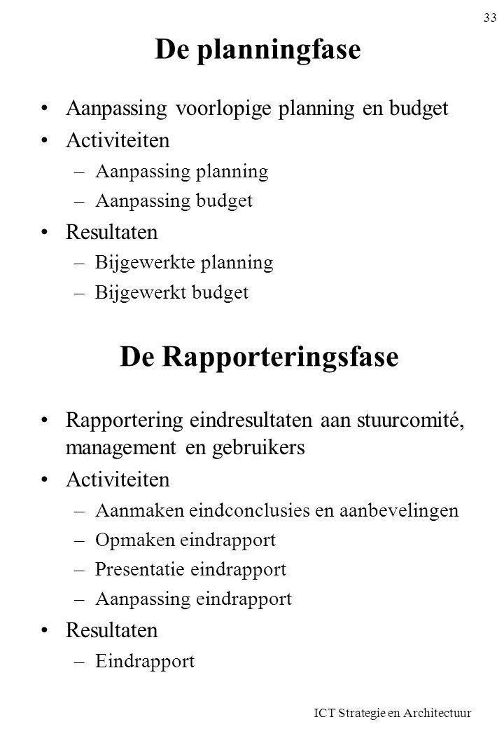 ICT Strategie en Architectuur 33 De planningfase Aanpassing voorlopige planning en budget Activiteiten –Aanpassing planning –Aanpassing budget Resulta