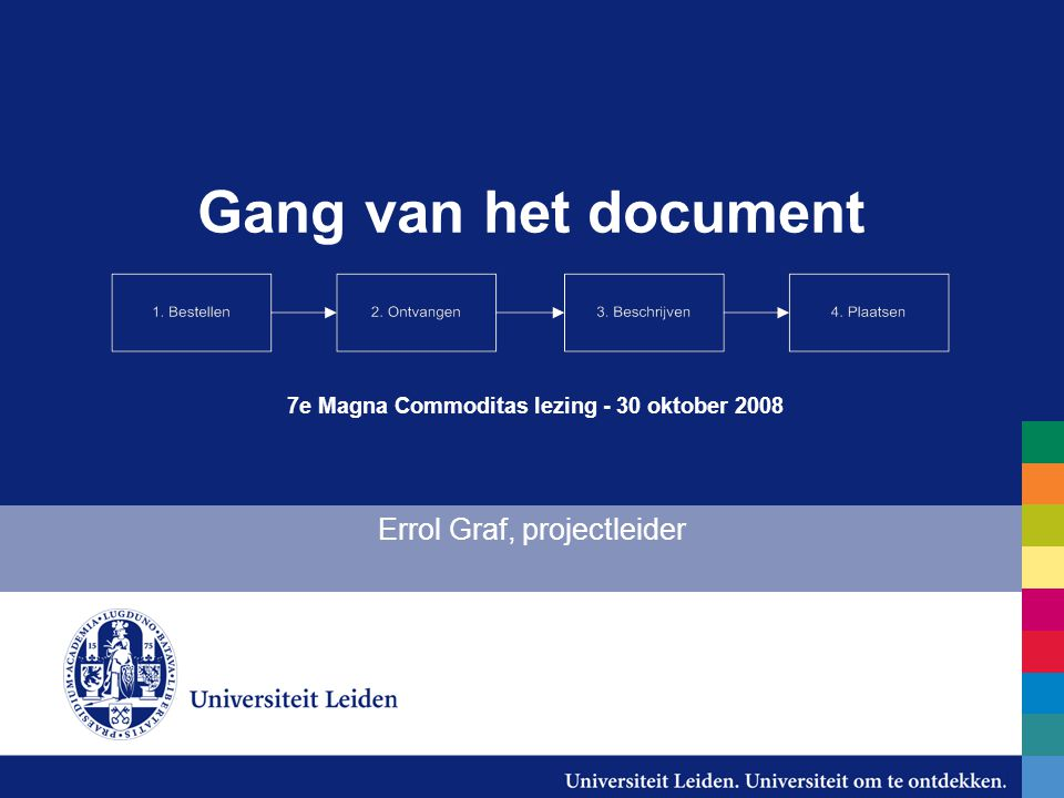 Gang van het document Errol Graf, projectleider 7e Magna Commoditas lezing - 30 oktober 2008
