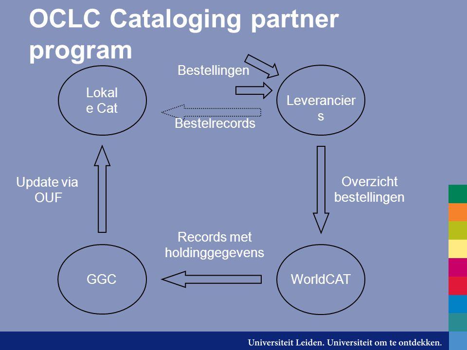 OCLC Cataloging partner program GGC WorldCAT Lokal e Cat Bestellingen Bestelrecords Leverancier s Overzicht bestellingen Records met holdinggegevens U