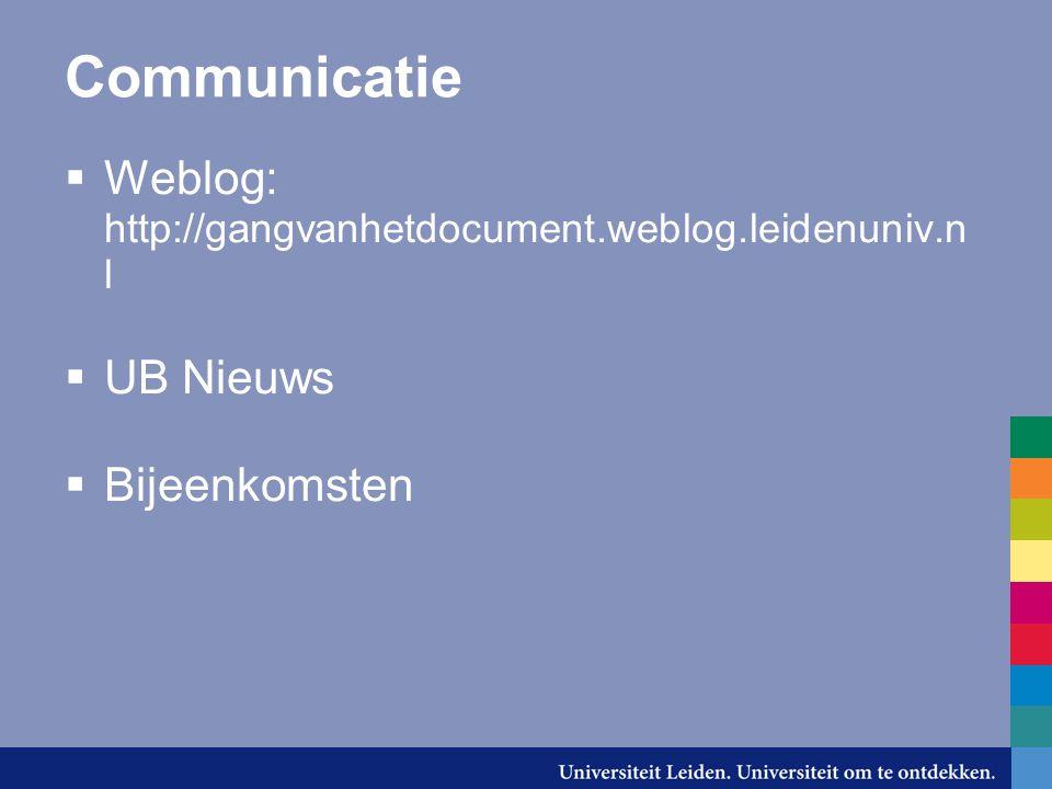 Communicatie  Weblog: http://gangvanhetdocument.weblog.leidenuniv.n l  UB Nieuws  Bijeenkomsten