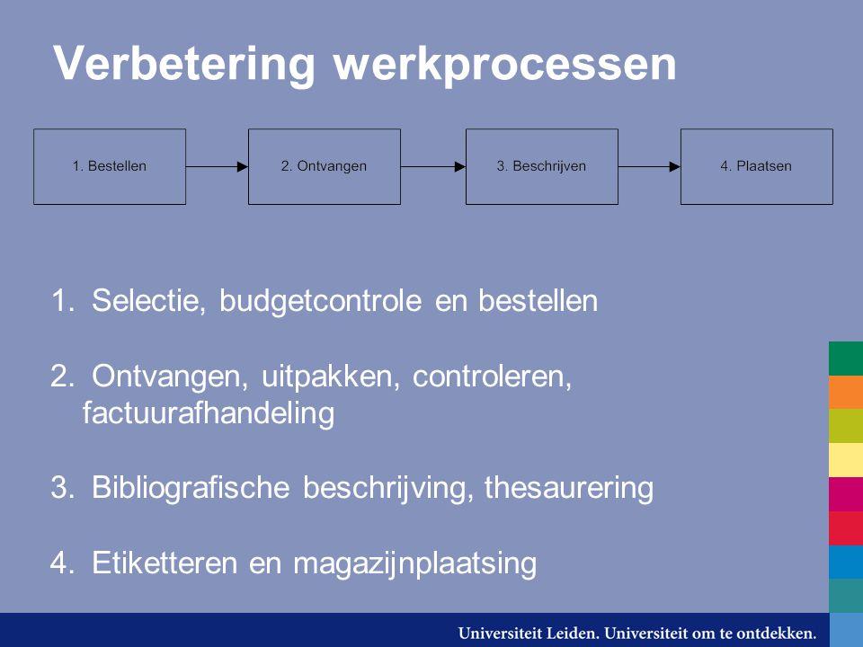 Verbetering werkprocessen 1. Selectie, budgetcontrole en bestellen 2. Ontvangen, uitpakken, controleren, factuurafhandeling 3. Bibliografische beschri