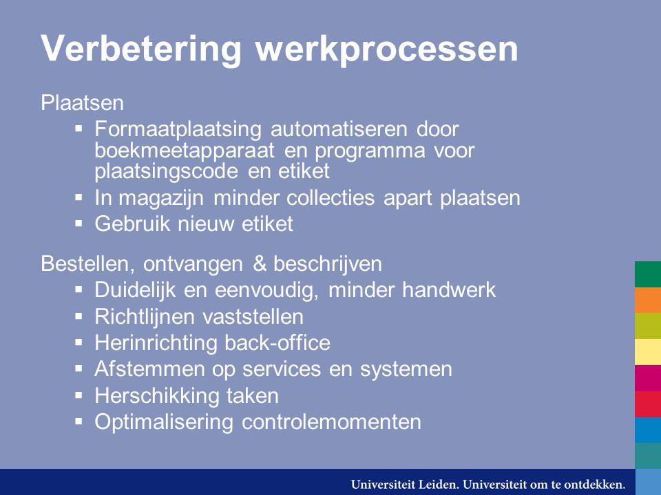 Verbetering werkprocessen Plaatsen  Formaatplaatsing automatiseren door boekmeetapparaat en programma voor plaatsingscode en etiket  In magazijn min