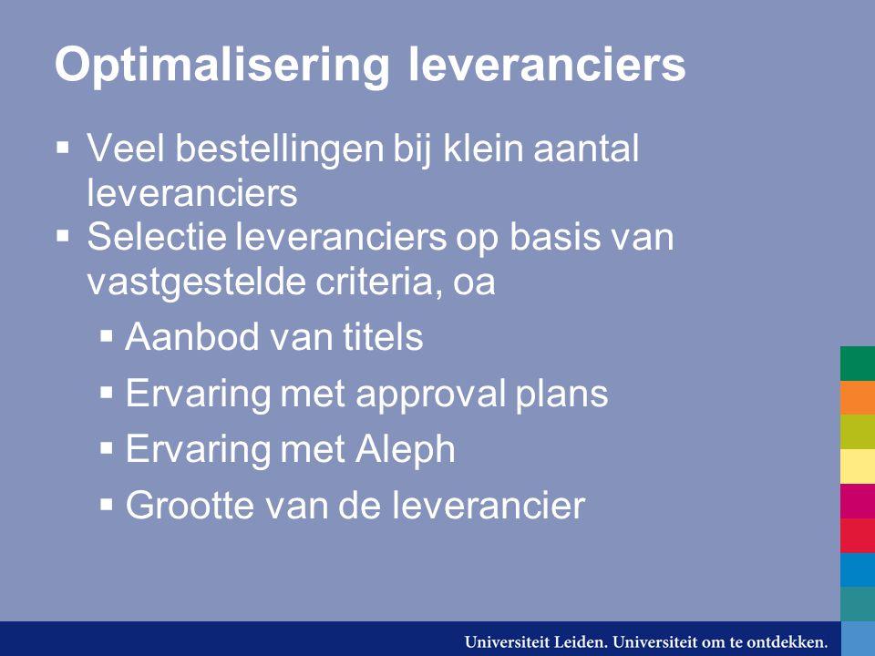 Optimalisering leveranciers  Veel bestellingen bij klein aantal leveranciers  Selectie leveranciers op basis van vastgestelde criteria, oa  Aanbod