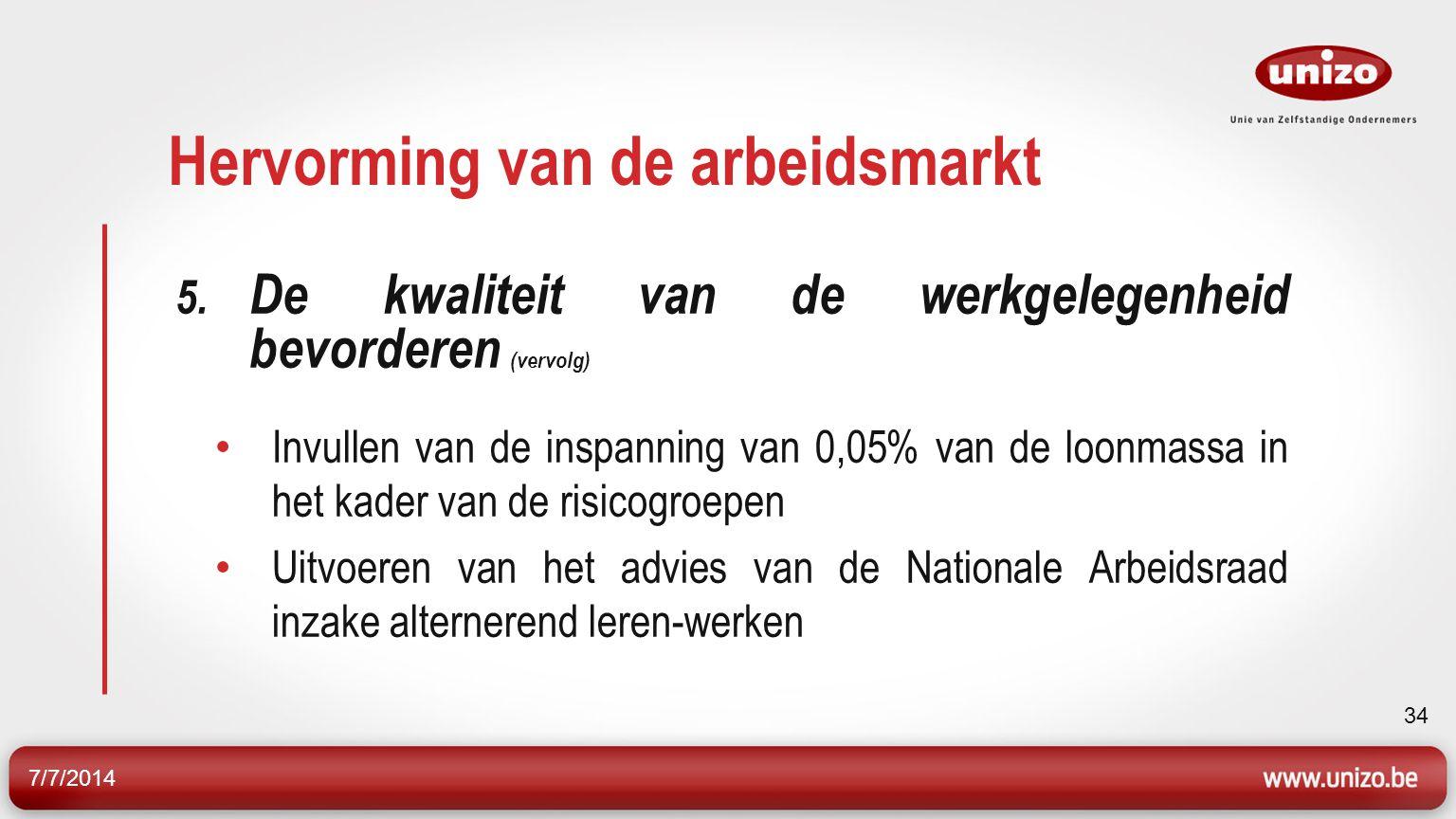 7/7/2014 34 Hervorming van de arbeidsmarkt 5.