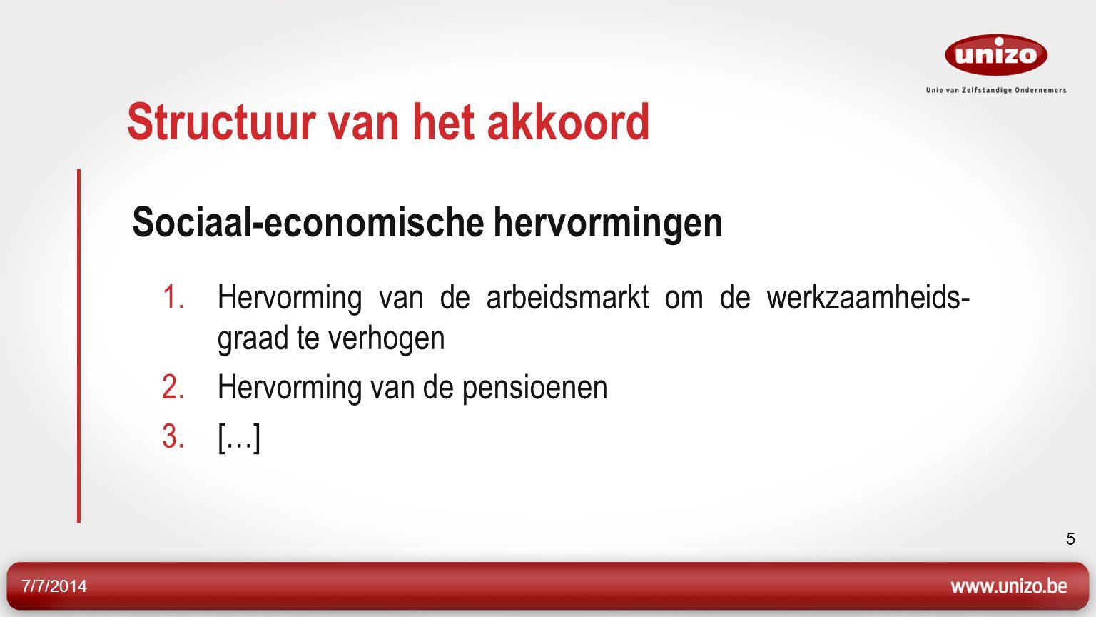 7/7/2014 5 Structuur van het akkoord Sociaal-economische hervormingen 1.Hervorming van de arbeidsmarkt om de werkzaamheids- graad te verhogen 2.Hervorming van de pensioenen 3.[…]
