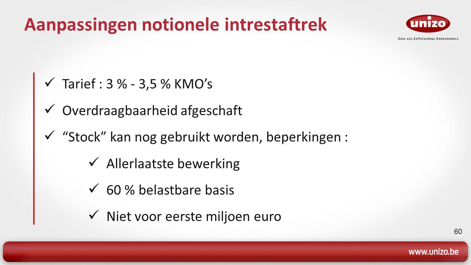 60 Aanpassingen notionele intrestaftrek Tarief : 3 % - 3,5 % KMO's Overdraagbaarheid afgeschaft Stock kan nog gebruikt worden, beperkingen : Allerlaatste bewerking 60 % belastbare basis Niet voor eerste miljoen euro