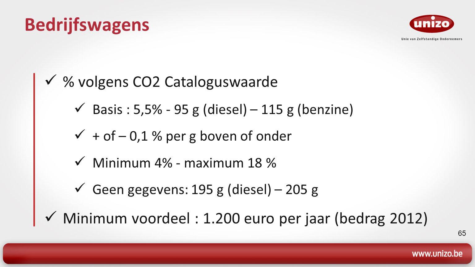 65 Bedrijfswagens % volgens CO2 Cataloguswaarde Basis : 5,5% - 95 g (diesel) – 115 g (benzine) + of – 0,1 % per g boven of onder Minimum 4% - maximum 18 % Geen gegevens: 195 g (diesel) – 205 g Minimum voordeel : 1.200 euro per jaar (bedrag 2012)
