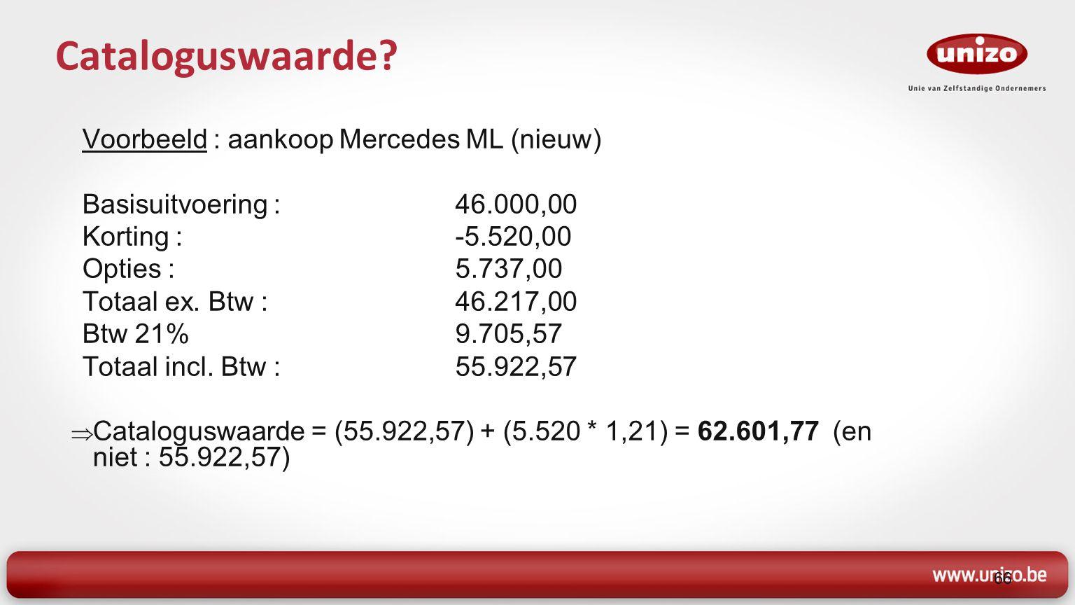 Voorbeeld : aankoop Mercedes ML (nieuw) Basisuitvoering : 46.000,00 Korting :-5.520,00 Opties :5.737,00 Totaal ex.