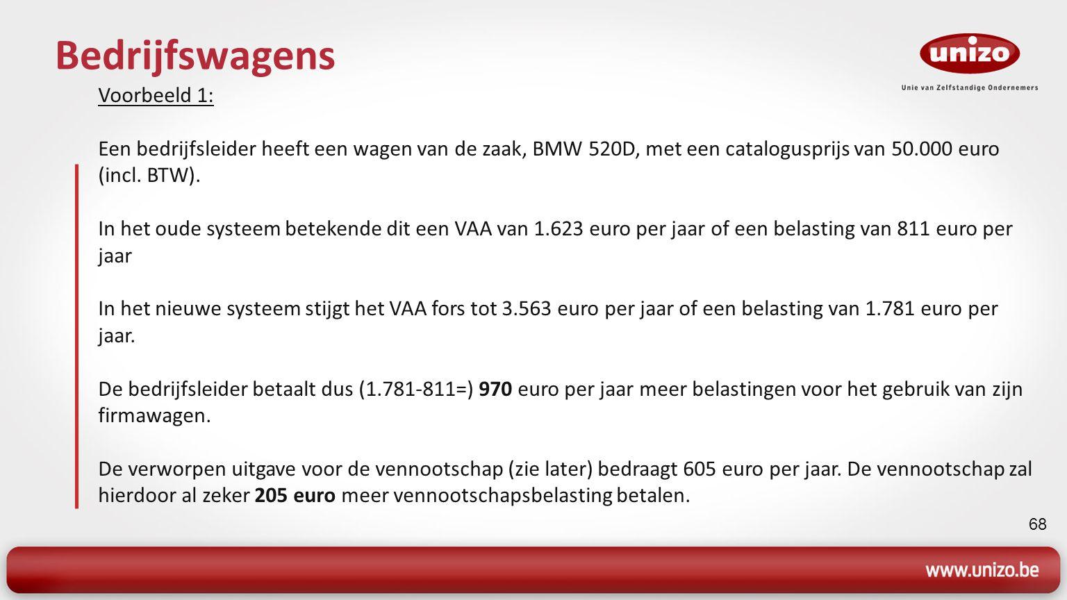 68 Bedrijfswagens Voorbeeld 1: Een bedrijfsleider heeft een wagen van de zaak, BMW 520D, met een catalogusprijs van 50.000 euro (incl.