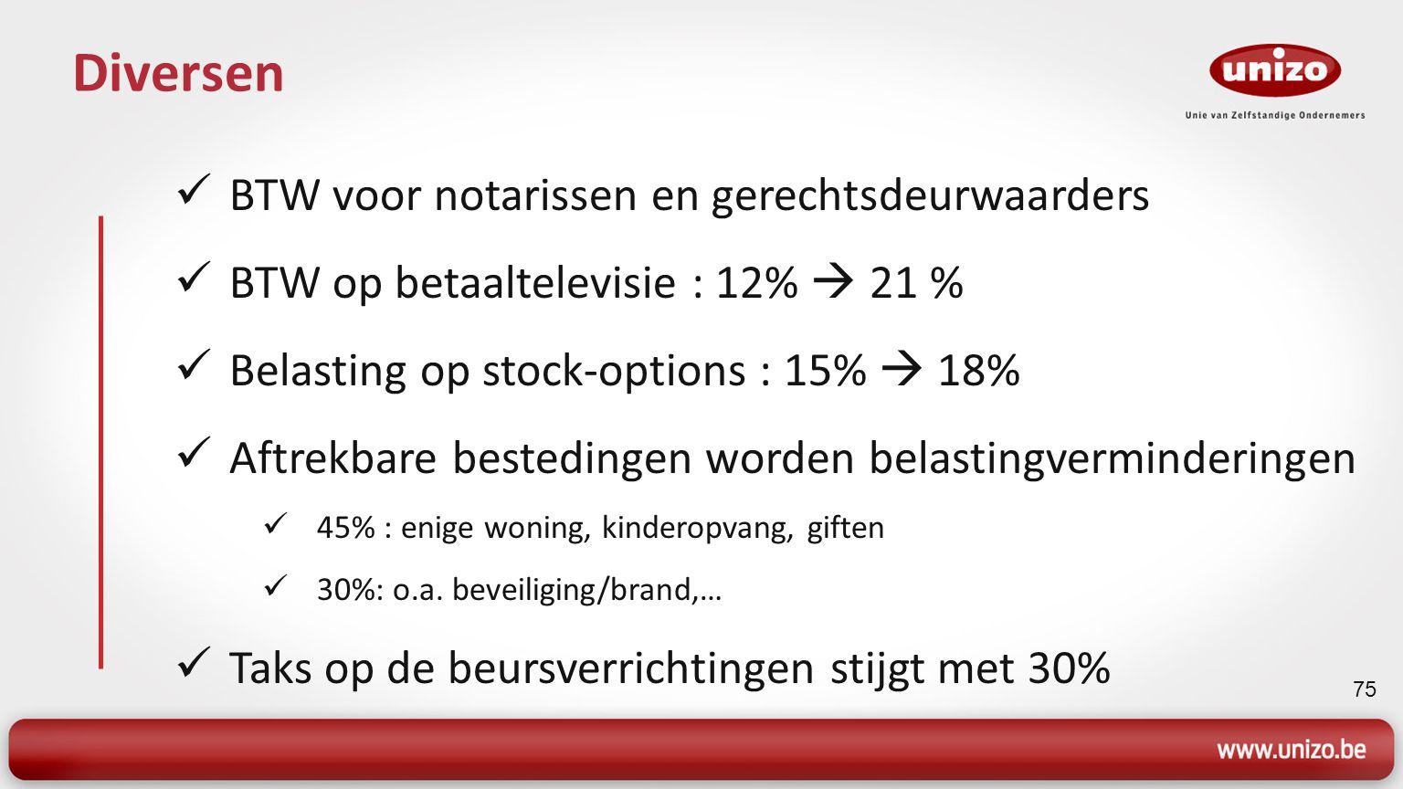 75 Diversen BTW voor notarissen en gerechtsdeurwaarders BTW op betaaltelevisie : 12%  21 % Belasting op stock-options : 15%  18% Aftrekbare bestedingen worden belastingverminderingen 45% : enige woning, kinderopvang, giften 30%: o.a.