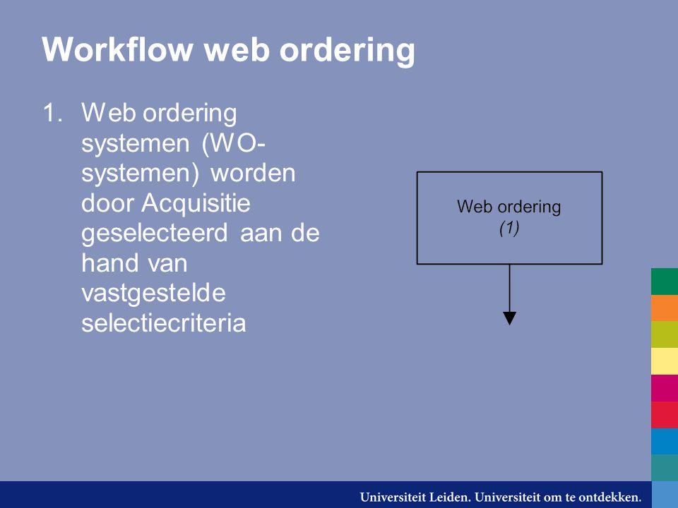Workflow web ordering 1.Web ordering systemen (WO- systemen) worden door Acquisitie geselecteerd aan de hand van vastgestelde selectiecriteria