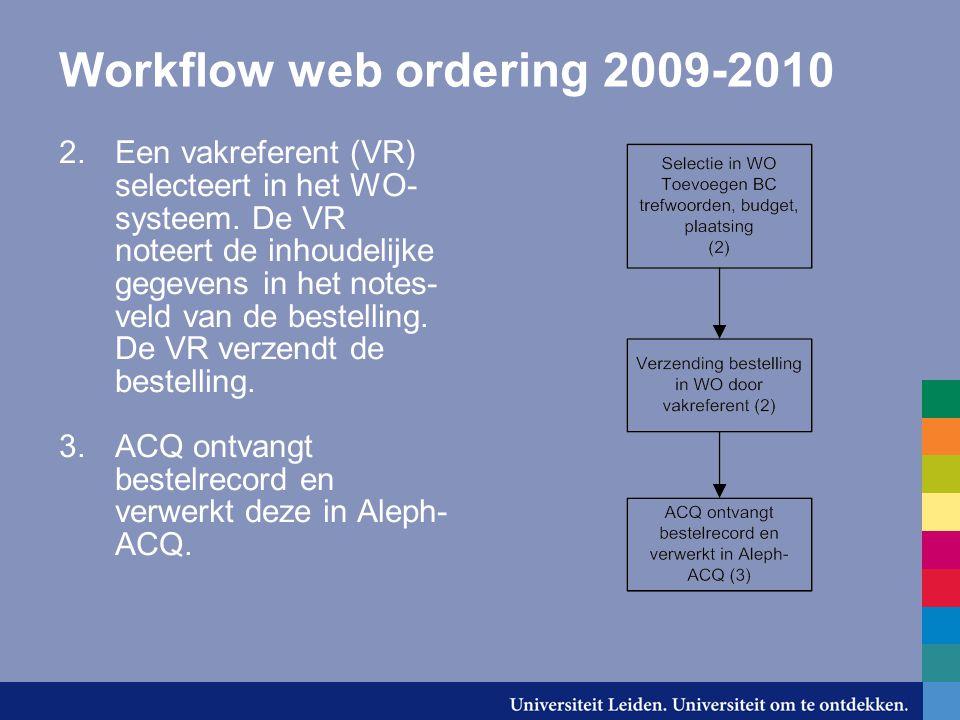 Workflow web ordering 2009-2010 2.Een vakreferent (VR) selecteert in het WO- systeem.