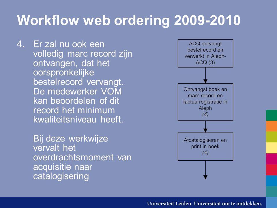 Workflow web ordering 2009-2010 4.Er zal nu ook een volledig marc record zijn ontvangen, dat het oorspronkelijke bestelrecord vervangt.