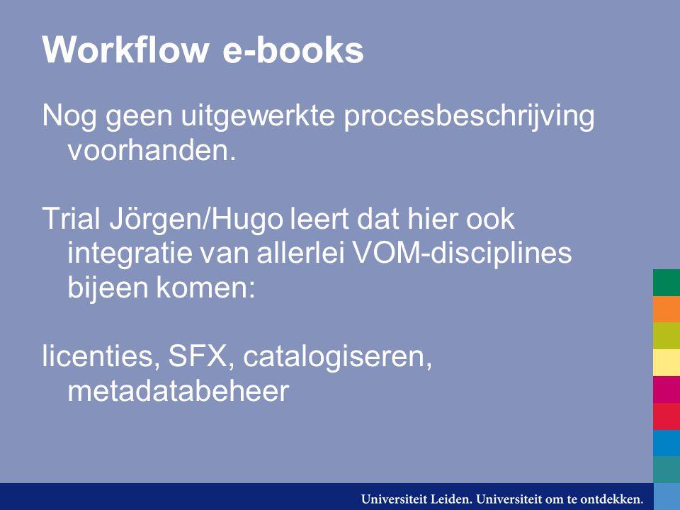 Workflow e-books Nog geen uitgewerkte procesbeschrijving voorhanden.