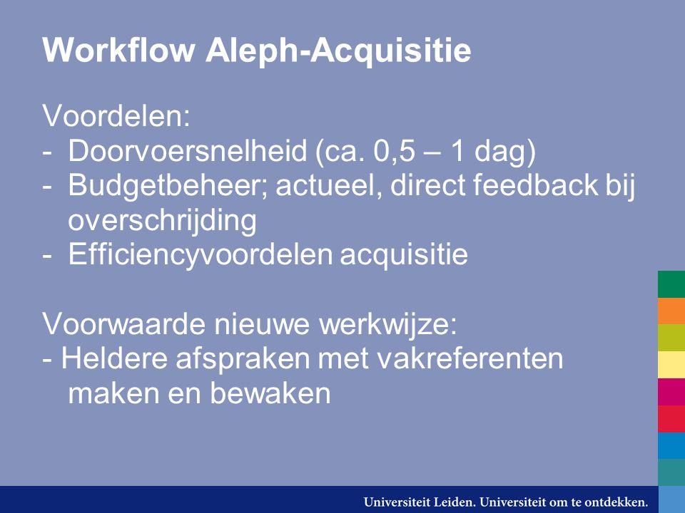 Workflow Aleph-Acquisitie Voordelen: -Doorvoersnelheid (ca.