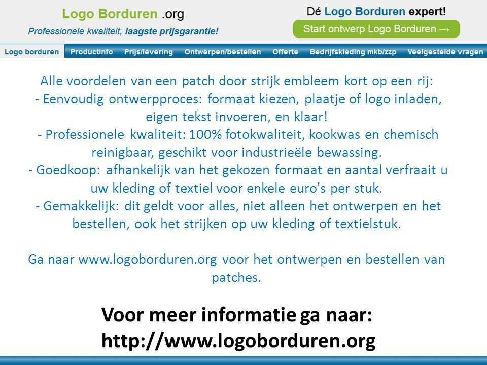 Voor meer informatie ga naar: http://www.logoborduren.org Alle voordelen van een patch door strijk embleem kort op een rij: - Eenvoudig ontwerpproces: