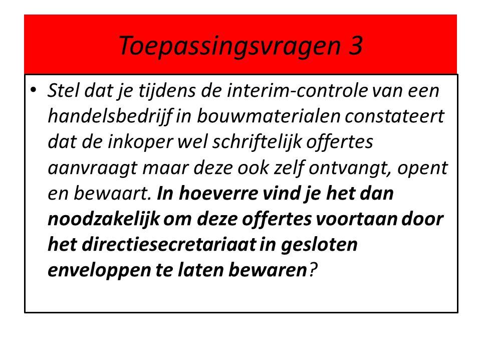Toepassingsvragen 3 Stel dat je tijdens de interim-controle van een handelsbedrijf in bouwmaterialen constateert dat de inkoper wel schriftelijk offer