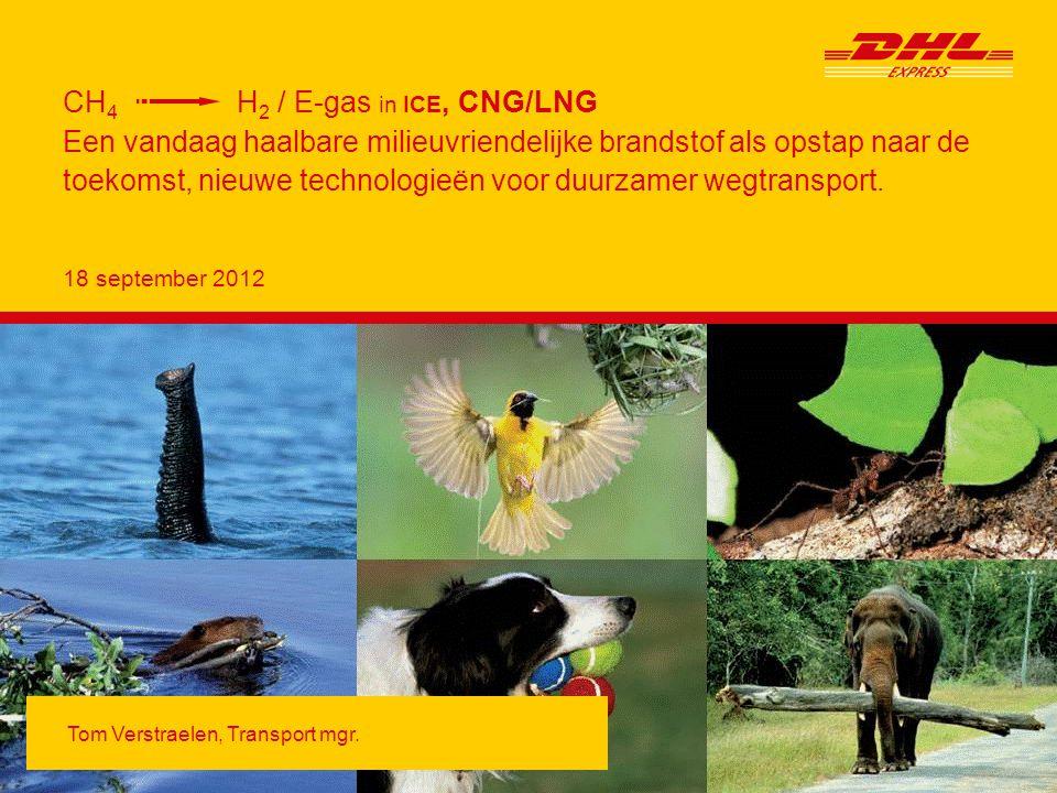 CH4 → H2, in ICE Page12 Actual Deutsche Post DHL DHL Express GoGreen CH 4 to H 2, in ICE - Actual Bij vervanging voertuig is CNG standaard waar haalbaar 8/2010 slow-fill infrastructuur op eigen DHL locatie (Aartstelaar) 1/2011 fastfill,,,,,,,,,,,, 10 extra CNG bestelwagens 10/2010 (Mercedes Sprinter NGT) 1/2011 Gasleverancier Eneco, ten laatste vanaf 2015 bio-gas 2/2011 Colruyt/Dats24, ten laatste vanaf 2015 bio-gas 3/2011 extra bestelling 6 CNG voertuigen = 1 e volledige Service Center op CNG 10/2011 6/2012 levering volgende 19 CNG voertuigen We bekijken samen met Volvo, Vito, Flanders Smart Hub, Drive Systems (= Blue Cargo), Electrabel, DHL-Aviation, Biac mogelijkheid tot inzet LNG vrachtwagens en LNG tanken te Brucargo.