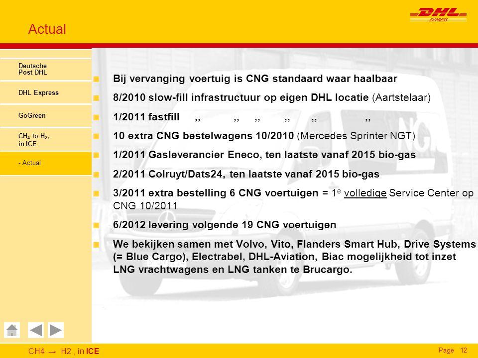 CH4 → H2, in ICE Page12 Actual Deutsche Post DHL DHL Express GoGreen CH 4 to H 2, in ICE - Actual Bij vervanging voertuig is CNG standaard waar haalba