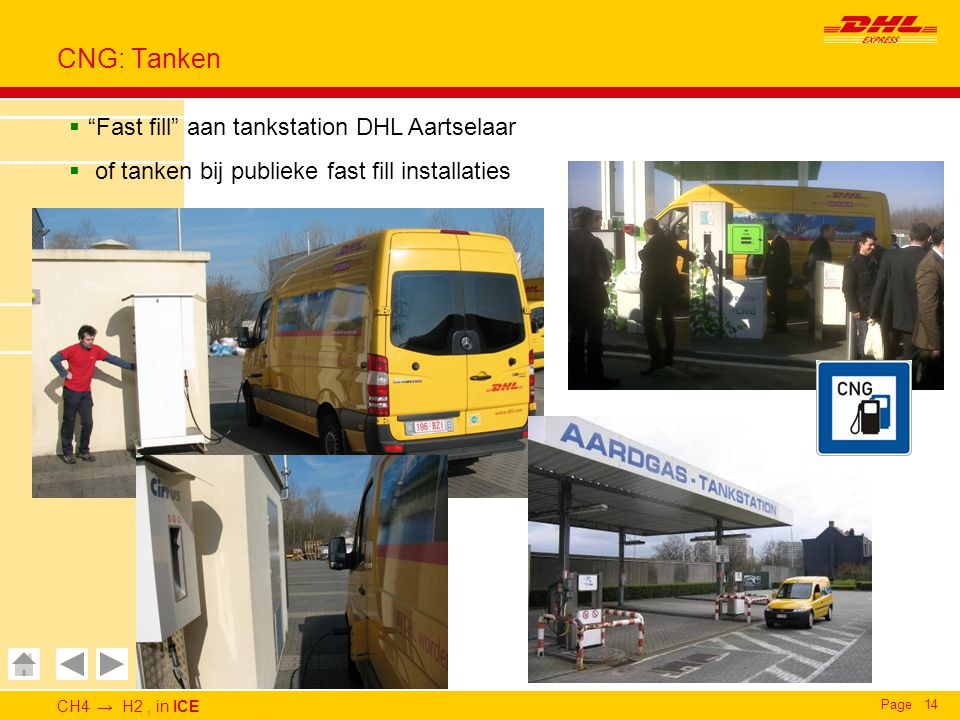 "CH4 → H2, in ICE Page14 CNG: Tanken  ""Fast fill"" aan tankstation DHL Aartselaar  of tanken bij publieke fast fill installaties"