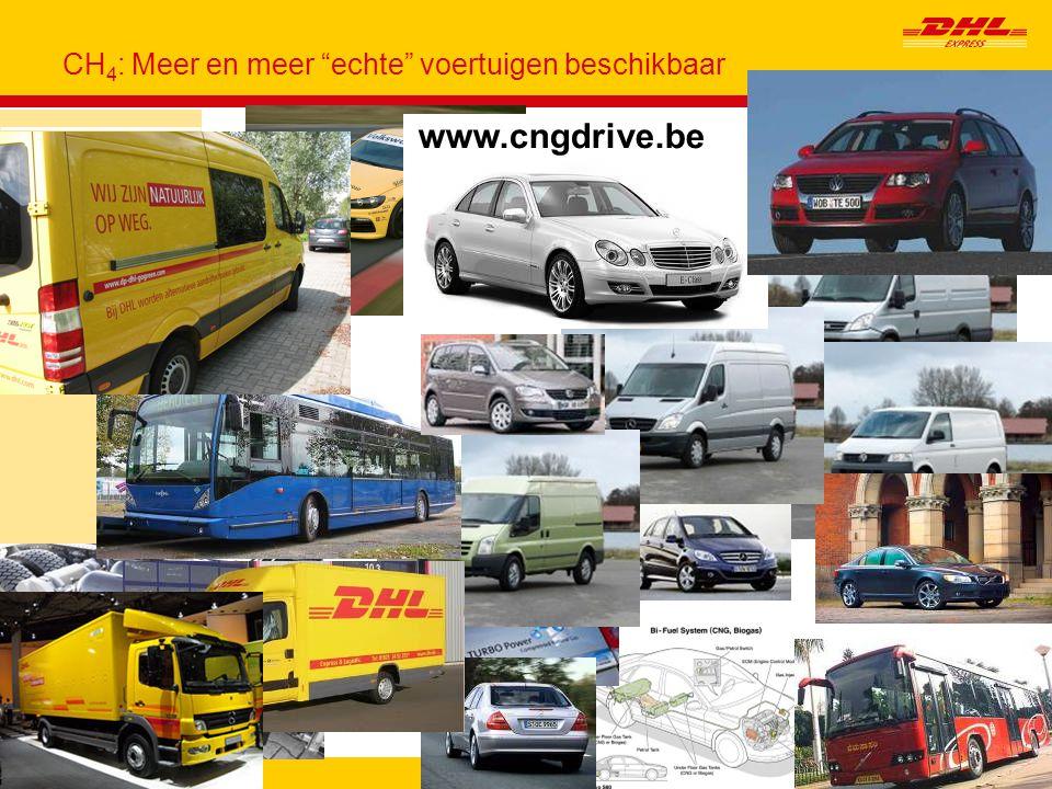 "CH4 → H2, in ICE Page15 CH 4 : Meer en meer ""echte"" voertuigen beschikbaar Deutsche Post DHL DHL Express GoGreen CH 4 to H 2, in ICE - CH 4 www.cngdri"