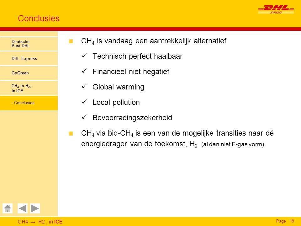 CH4 → H2, in ICE Page19 Conclusies Deutsche Post DHL DHL Express GoGreen CH 4 to H 2, in ICE - Conclusies CH 4 is vandaag een aantrekkelijk alternatief Technisch perfect haalbaar Financieel niet negatief Global warming Local pollution Bevoorradingszekerheid CH 4 via bio-CH 4 is een van de mogelijke transities naar dé energiedrager van de toekomst, H 2 (al dan niet E-gas vorm)