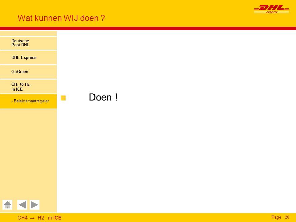 CH4 → H2, in ICE Page20 Wat kunnen WIJ doen ? Deutsche Post DHL DHL Express GoGreen CH 4 to H 2, in ICE - Beleidsmaatregelen Doen !