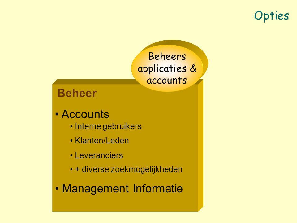 Beheer Accounts Interne gebruikers Klanten/Leden Leveranciers + diverse zoekmogelijkheden Management Informatie Beheers applicaties & accounts Opties