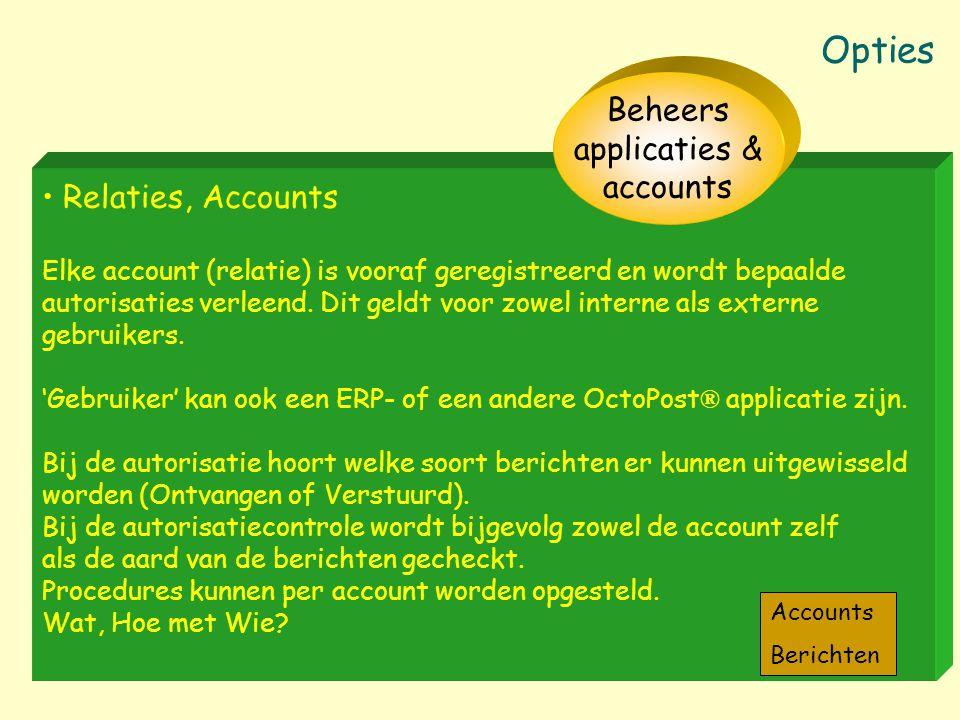 Relaties, Accounts Elke account (relatie) is vooraf geregistreerd en wordt bepaalde autorisaties verleend. Dit geldt voor zowel interne als externe ge